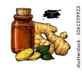 ginger essential oil bottle and ... | Shutterstock .eps vector #1061559923