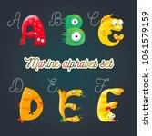 marine cartoon fun alphabet.... | Shutterstock .eps vector #1061579159