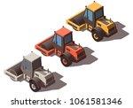isometric road roller isolated | Shutterstock .eps vector #1061581346