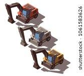 isometric excavator isolated | Shutterstock .eps vector #1061583626