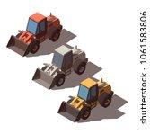 isometric wheel loader isolated | Shutterstock .eps vector #1061583806