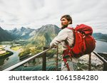 tourist man sightseeing aerial...   Shutterstock . vector #1061584280