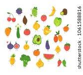 cute cartoon fruits and...   Shutterstock .eps vector #1061588816