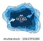 paper art concept of world... | Shutterstock .eps vector #1061593280