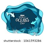 paper art concept of world... | Shutterstock .eps vector #1061593286