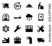 solid vector icon set   baggage ... | Shutterstock .eps vector #1061597486