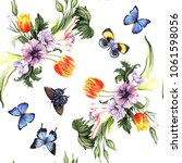 watercolor pattern with spring... | Shutterstock . vector #1061598056