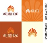 art deco floral or sun logo and ...   Shutterstock .eps vector #1061626280