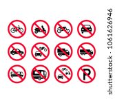 Red Prohibition Vehicles Sign...