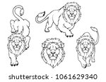 Stock vector set of lion logo vector animal lion king lion isolated on white background 1061629340