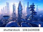 modern building at dawn..3d...   Shutterstock . vector #1061634008