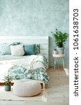 stylish spring bedroom interior.... | Shutterstock . vector #1061638703