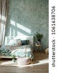 stylish spring bedroom interior.... | Shutterstock . vector #1061638706