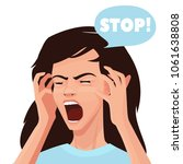 strong stress. a woman shouts... | Shutterstock .eps vector #1061638808