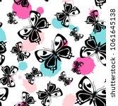 contrast seamless butterfly... | Shutterstock .eps vector #1061645138