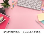 desk with cactus  keyboard ... | Shutterstock . vector #1061645456