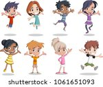group of happy cartoon kids... | Shutterstock .eps vector #1061651093