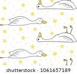 sleepy duck  pattern with duck... | Shutterstock .eps vector #1061657189
