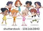 group of happy cartoon kids... | Shutterstock .eps vector #1061663840