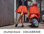 sexy woman wearing stylish red... | Shutterstock . vector #1061688308