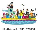 a little cute sightseeing motor ... | Shutterstock .eps vector #1061691848