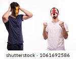 happy football fan of england... | Shutterstock . vector #1061692586