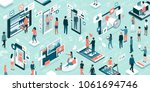 diverse people connecting... | Shutterstock .eps vector #1061694746