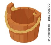 Wooden Bucket Icon. Isometric...
