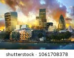 city of london at sunset. view... | Shutterstock . vector #1061708378