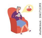 cartoon granny using computer...   Shutterstock .eps vector #1061711393
