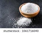 Salt In Wooden Olive Bowl On...