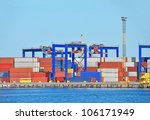port cargo crane and container... | Shutterstock . vector #106171949