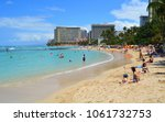 waikiki beach  honolulu  oahu ... | Shutterstock . vector #1061732753