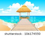 bridge over water bungalows | Shutterstock .eps vector #106174550