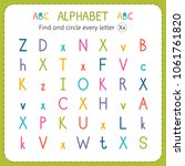 find and circle every letter x. ... | Shutterstock .eps vector #1061761820