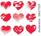 Grunge hearts on white background. Vector set