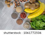 superfoods on a gray background ... | Shutterstock . vector #1061772536