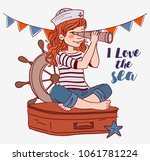 cute girl sitting on a suitcase ... | Shutterstock .eps vector #1061781224