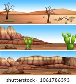 three different dry valley... | Shutterstock .eps vector #1061786393