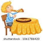 a man eating pizza on white...   Shutterstock .eps vector #1061786420