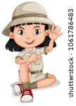 a cute girl scout on white... | Shutterstock .eps vector #1061786483
