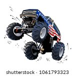cartoon monster truck.... | Shutterstock .eps vector #1061793323