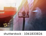 pressure washer cleaning ship... | Shutterstock . vector #1061833826