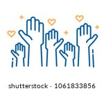 volunteers and charity work.... | Shutterstock .eps vector #1061833856