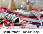smudge stick with crystals... | Shutterstock . vector #1061841056