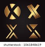 gold letter x logo.luxury... | Shutterstock .eps vector #1061848619