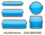 blue buttons set. glass icons... | Shutterstock . vector #1061886080