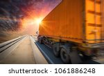 logistics container truck and... | Shutterstock . vector #1061886248