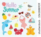 set of cute summer  | Shutterstock .eps vector #1061888939