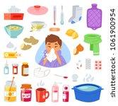 flu vector sick character with... | Shutterstock .eps vector #1061900954